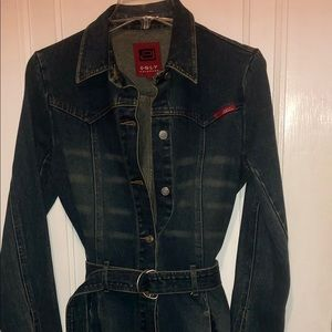 ONLY Jean Jacket long fitted 70's style belted